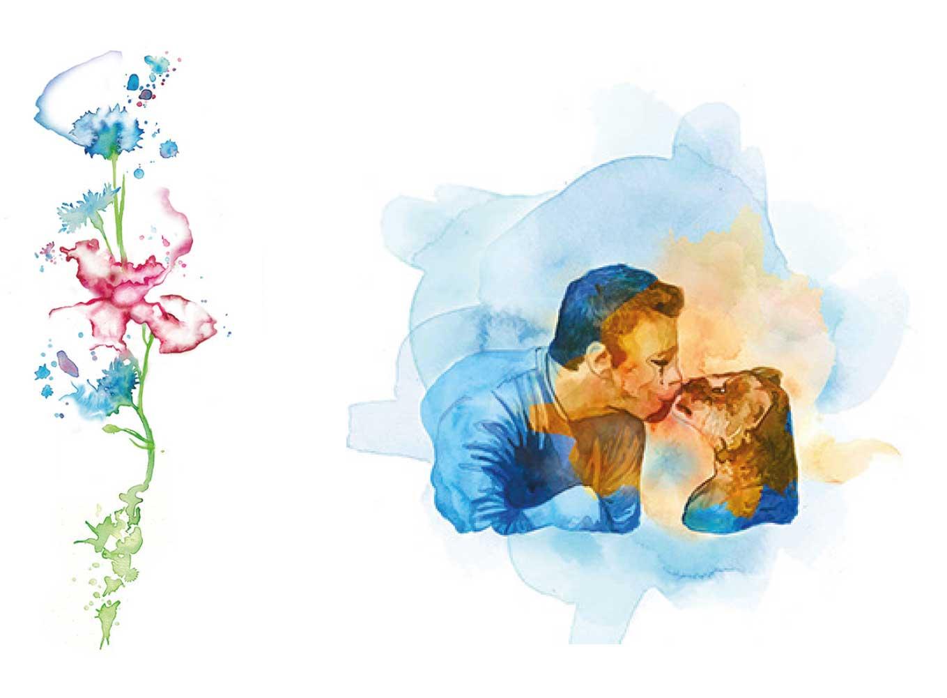 Aquarell-Illustrationen-Blume-und-Löwenjunges