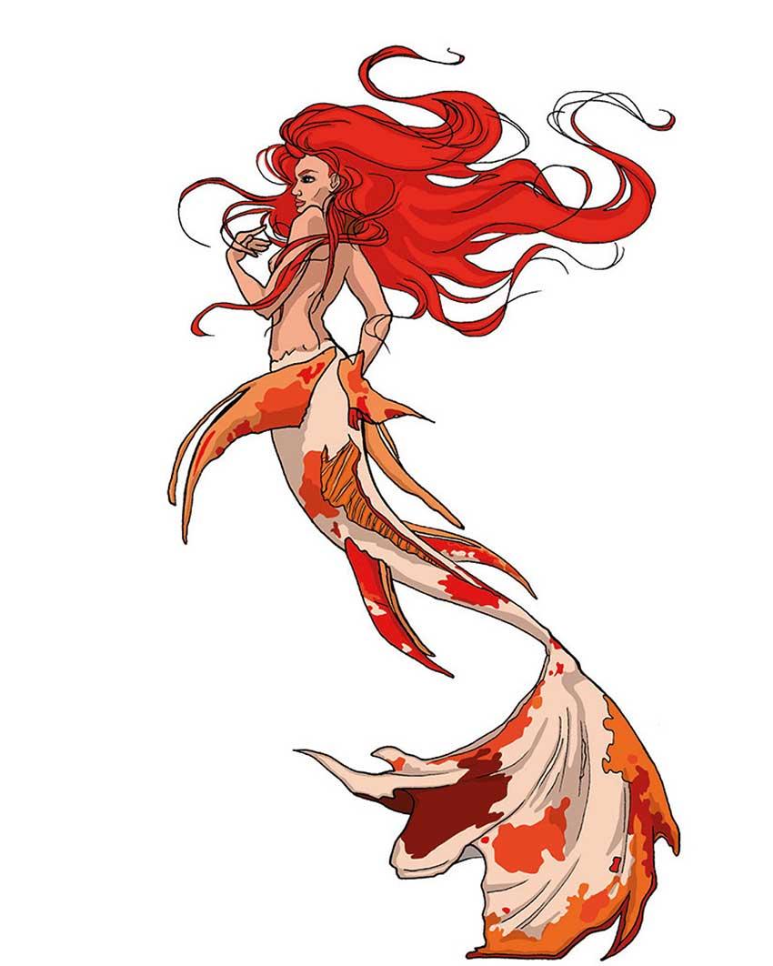 Mermaid-Merrjungfrau-Tintezeichnung